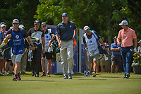 Henrik Stenson (SWE), Matt Kuchar (USA), and Justin Rose (GBR) head down 18 during Round 2 of the Zurich Classic of New Orl, TPC Louisiana, Avondale, Louisiana, USA. 4/27/2018.<br /> Picture: Golffile | Ken Murray<br /> <br /> <br /> All photo usage must carry mandatory copyright credit (&copy; Golffile | Ken Murray)