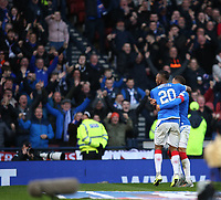 3rd November 2019; Hampden Park, Glasgow, Scotland; Scottish League Cup Football, Rangers versus Heart of Midlothian; Alfredo Morelos and James Tavernier of Rangers celebrate their second goal in the 47th minute - Editorial Use