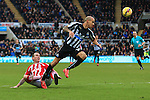 Gabriel Obertan of Newcastle United gets in on goal but fails to score - Newcastle United vs. Stoke City - Barclay's Premier League - St James' Park - Newcastle - 08/02/2015 Pic Philip Oldham/Sportimage