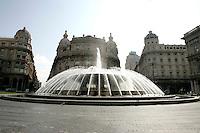 La fontana di Piazza De Ferrari a Genova.<br /> The fountain of Piazza De Ferrari in Genoa.<br /> UPDATE IMAGES PRESS/Riccardo De Luca
