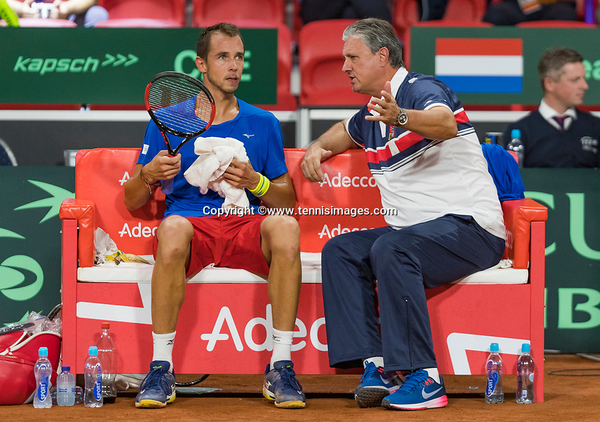 The Hague, The Netherlands, September 17, 2017,  Sportcampus , Davis Cup Netherlands - Chech Republic, Fifth match : Chech bench with captain Navratil and Lukas Rosol<br /> Photo: Tennisimages/Henk Koster
