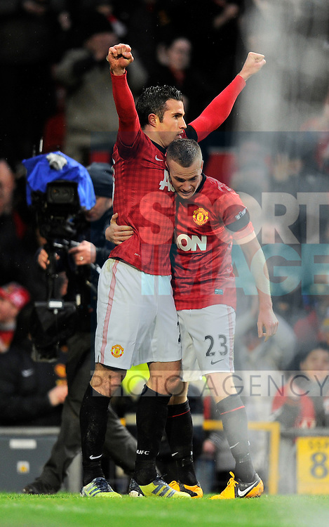 Robin van Persie of Manchester United celebrates scoring the second goal with Tom Cleverley of Manchester United - Barclays Premier League - Manchester Utd vs Everton - Old Trafford Stadium - Manchester - 10/02/13 - Picture Simon Bellis/Sportimage