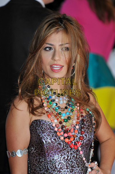 GABRIELLE CILMI.Arrivals - 2009 Brit Awards, Earls Court, London, England, February 18th 2009..portrait headshot necklaces coloured beads necklace strapless bustier grey gray patterned .CAP/PL.©PL/Capital Pictures