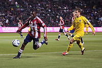 Chivas USA and Columbus Crew played to a 0-0 tie at Home Depot Center stadium in Carson, California on  April  9, 2011....