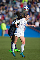 Cary, North Carolina - Sunday December 6, 2015: Malinda Allen (22) of the Duke Blue Devils battles for the ball with Raquel Rodriguez (11) of the Penn State Nittany Lions during second half action at the 2015 NCAA Women's College Cup at WakeMed Soccer Park.  The Nittany Lions defeated the Blue Devils 1-0.