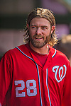 27 July 2013: Washington Nationals outfielder Jayson Werth smiles in the dugout during a game against the New York Mets at Nationals Park in Washington, DC. The Nationals defeated the Mets 4-1. Mandatory Credit: Ed Wolfstein Photo *** RAW (NEF) Image File Available ***