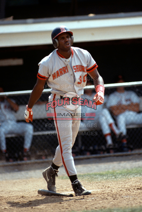 Harrisburg Senators first baseman Cliff Floyd during a game versus the New Britain Red Sox at Beehive Field in New Britain, Connecticut during the 1993 season. (Ken Babbitt/Four Seam Images)