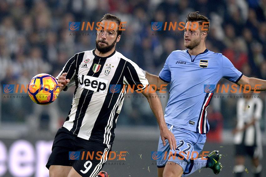 Jacopo Sala Sampdoria, Gonzalo Higuain Juventus,<br /> Torino 26-10-2016, Juventus Stadium, Football Calcio 2016/2017 Serie A, Juventus - Sampdoria, Foto Filippo Alfero/Insidefoto