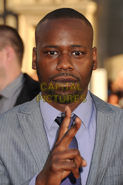 "Malcolm Barrett.""Larry Crowne"" Los Angeles Premiere held at Grauman's Chinese Theatre, Hollywood, California, USA..June 27th, 2011.headshot portrait  hand v peace sign goatee facial hair grey gray .CAP/ADM/BP.©Byron Purvis/AdMedia/Capital Pictures."