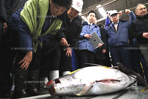 Tokyo Governor Yuriko Koike inspects the Tsukiji wholesale market in Tokyo, Japan on January 12, 2017. The aging market was scheduled to be relocate to nearby Toyosu waterfront district last November. But it was postponed due to concerns about soil contamination at the new site. (Photo by AFLO)