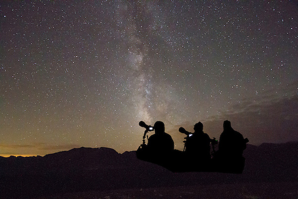 Photographers and Milky Way at Forest Canyon Overlook, Rocky Mountain National Park. <br />
