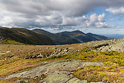 Northern Presidential Range from along the Gulfside Trail (Appalachian Trail), near the summit of Mt Washington, in Thompson and Meserve's Purchase, New Hampshire on a cloudy day; part of the Presidential Range in the White Mountains.