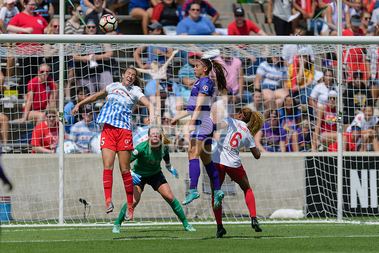 Bridgeview, IL - Saturday July 22, 2017: Kathleen Naughton, Alex Morgan, Casey Short during a regular season National Women's Soccer League (NWSL) match between the Chicago Red Stars and the Orlando Pride at Toyota Park.