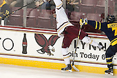 Adam Gilmour (BC - 14), Jonathan Lashyn (Merrimack - 7) - The Boston College Eagles defeated the visiting Merrimack College Warriors 2-1 on Wednesday, January 21, 2015, at Kelley Rink in Conte Forum in Chestnut Hill, Massachusetts.