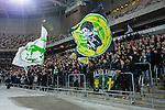 Stockholm 2014-01-10 Bandy Elitserien Hammarby IF - Sandvikens AIK :  <br />   Hammarby supportrar med flaggor p&aring; kortsidesl&auml;ktaren under matchen<br /> (Foto: Kenta J&ouml;nsson) Nyckelord:  supporter fans publik supporters