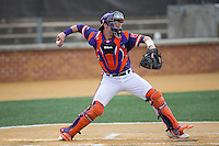 Clemson Tigers catcher Chris Okey (25) throws the ball to second base during the game against the Wake Forest Demon Deacons at David F. Couch Ballpark on March 12, 2016 in Winston-Salem, North Carolina.  The Tigers defeated the Demon Deacons 6-5.  (Brian Westerholt/Four Seam Images)