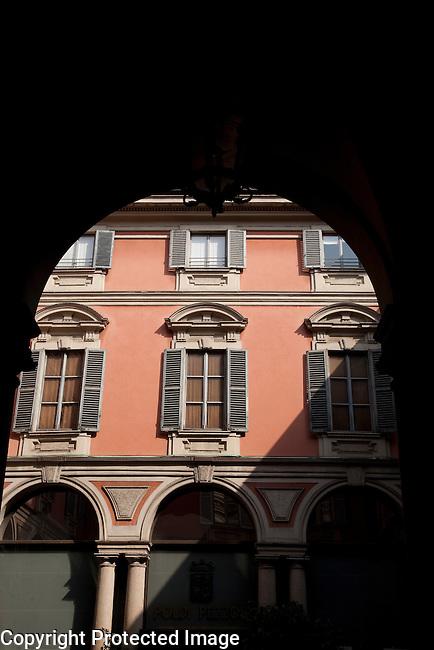 Patio Facade in Poldi-Pezzoli Museum in Milan, Italy