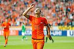 Nederland, Amsterdam, 2 juni 2012.Oefenwedstrijd .Nederland-Noord Ierland.Ibrahim Afellay van Nederland juicht nadat hij de 4-0 heeft gescoord.