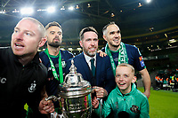 3rd November 2019; Aviva Stadium, Dublin, Leinster, Ireland; FAI Cup Final Football, Dundalk Football Club versus Shamrock Rovers; Stephen Bradley Shamrock Rovers manager with the winners trophy - Editorial Use