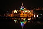 Night view of Tatmadaw boat club in Inya Lake at Yangon