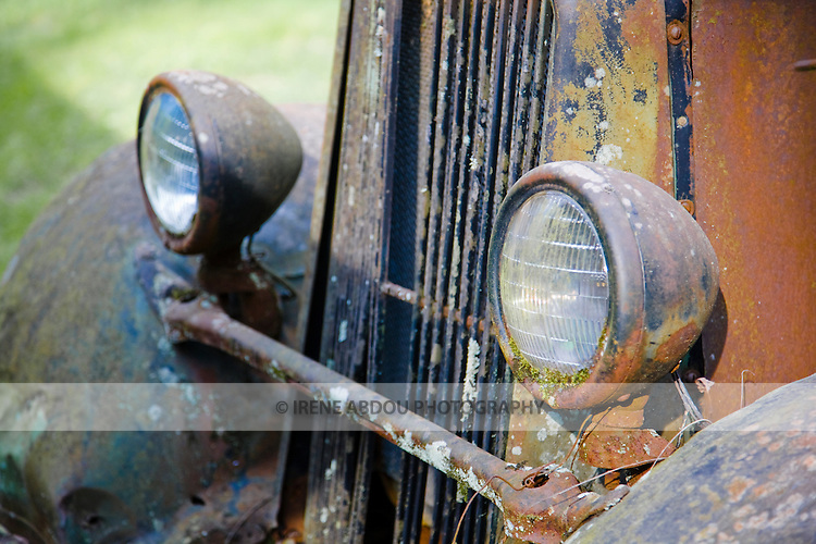 Old rusted car on a farm at the foot of the Smoky Mountains, Tennessee