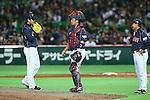 (L to R) .Kazuhisa Makita (JPN), .Shinnosuke Abe (JPN), . Osamu Higashio (JPN), .MARCH 2, 2013 - WBC : .2013 World Baseball Classic .1st Round Pool A .between Japan 5-3 Brazil .at Yafuoku Dome, Fukuoka, Japan. .(Photo by YUTAKA/AFLO SPORT) [1040]
