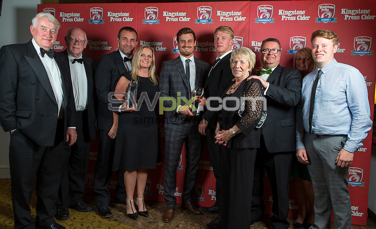 Picture by Alex Whitehead/SWpix.com - 14/09/2015 - Rugby League - 2015 Kingstone Press Championship and League 1 Awards Dinner - Midland Hotel, Manchester, England - League 1 Player of the Year: Lewis Palfrey (Oldham) and League 1 Coach of the Year: Scott Naylor (Oldham).