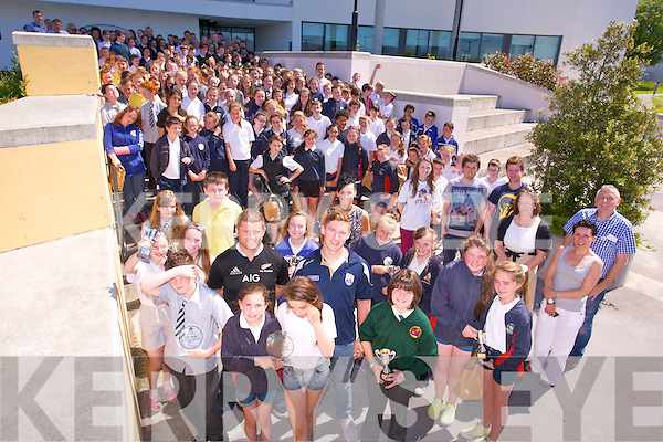 Kerry GAA player James O'Donoghue and sponsor  Billy Stack, Continuum Commerce Solutions, presented at the   ITTch Awards to 250 Primary school student from all around Kerry  at the ITTralee north campus on Tuesday