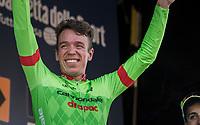 a happy race winner Rigoberto Uran (COL/Cannondale-Drapac) on the podium<br /> <br /> 98th Milano - Torino 2017 (ITA) 186km