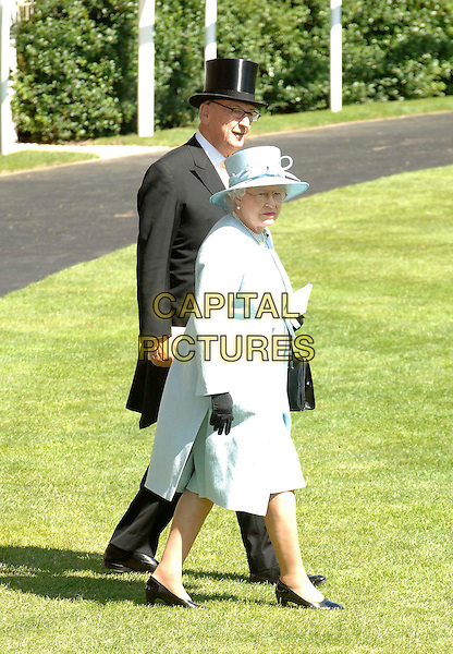 QUEEN ELIZABETH II.Ladies Day at Royal Ascot, Ascot, England, 19th June 2008..HRH Her Majesty royal royalty The full length pale blue hat suit coat jacket black gloves glasses bag brooch walking grass.CAP/DS.©Dudley Smith/Capital Pictures