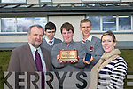 Three students at the Intermediate School Killorglin won the 'Best Innovative Idea' at the Enterprise Awards. .L-R Principal Kieran Griffin, Niall O'Connor,Darragh Carmody, Robert Shaw, and teacher Orla Courtney.