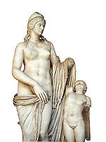 2nd century Roman statue of Venus known as the Venere Felice, inspired by the Hellenistic stsue of Aphrodite of Cnidus made by Greek sculptor Praixiteles in the 4th century BC. Possibly a Venus's face is a portrait of Sallustia who dedicated the statue with Helpidus, and the Eros may be a portrait of her young son. inv 129, Vatican Museum Rome, Italy,  white background