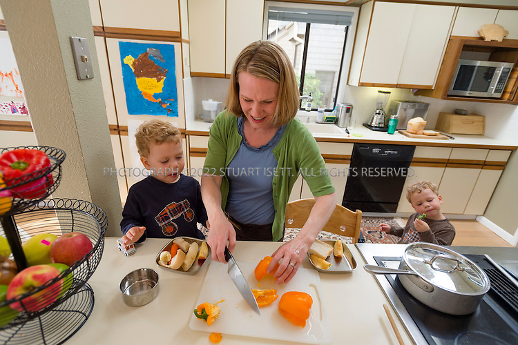 5/29/2012--Seattle, WA, USA..Eden Mack, 39, and her 2 yr old twins, Adrian (blue shirt) and Anderson (brown shirt) in their home in Seattle, WASH. Mack's children suffer from serious allergies to eggs and nuts. ..Here, Eden feeds her twins a pre-dinner snack of raw vegetables. For dinner they will eat talipia. brown rice and broccoli...©2012 Stuart Isett. All rights reserved.