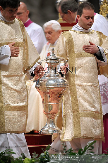 amphora containing holy oil Pope Benedict XVI  leads the Chrismal mass in the morning of Holy Thursday at St Peter's basilica at The Vatican.on April 5, 2012