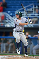 Vermont Lake Monsters designated hitter Seth Brown (8) at bat during the second game of a doubleheader against the Batavia Muckdogs August 11, 2015 at Dwyer Stadium in Batavia, New York.  Batavia defeated Vermont 1-0.  (Mike Janes/Four Seam Images)