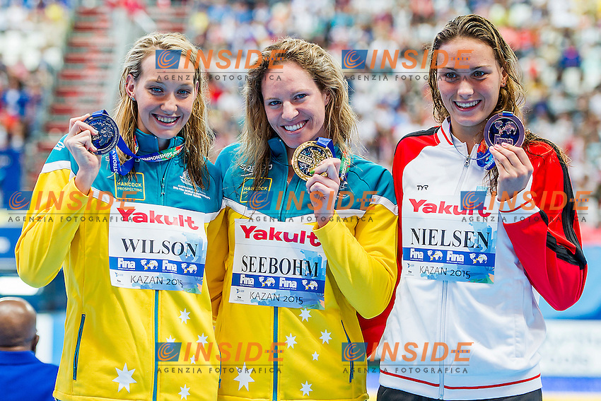 Podium<br /> 100 Backstroke Women Final<br /> Swimming - Kazan Arena<br /> Day12 04/08/2015<br /> XVI FINA World Championships Aquatics Swimming<br /> Kazan Tatarstan RUS July 24 - Aug. 9 2015 <br /> Photo A.Masini/Deepbluemedia/Insidefoto
