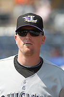 Louisville Bats pitcher Chad Reineke #34 before a game against the Durham Bulls at Durham Bulls Athletic Park on May 2, 2012 in Durham, North Carolina. Durham defeated Louisville by the score of 7-5. (Robert Gurganus/Four Seam Images)