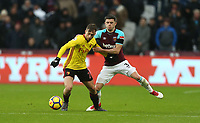 Watford's Gerard Deulofeu and West Ham United's Aaron Cresswell<br /> <br /> Photographer Rob Newell/CameraSport<br /> <br /> The Premier League - West Ham United v Watford - Saturday 10th February 2018 - London Stadium - London<br /> <br /> World Copyright &copy; 2018 CameraSport. All rights reserved. 43 Linden Ave. Countesthorpe. Leicester. England. LE8 5PG - Tel: +44 (0) 116 277 4147 - admin@camerasport.com - www.camerasport.com