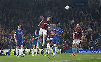 West Ham United's Fabian Balbuena clears<br /> <br /> Photographer Rob Newell/CameraSport<br /> <br /> The Premier League - Chelsea v West Ham United - Monday 8th April 2019 - Stamford Bridge - London<br /> <br /> World Copyright © 2019 CameraSport. All rights reserved. 43 Linden Ave. Countesthorpe. Leicester. England. LE8 5PG - Tel: +44 (0) 116 277 4147 - admin@camerasport.com - www.camerasport.com