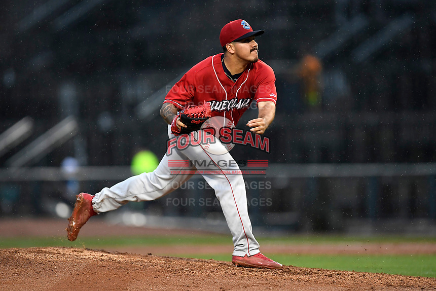 JoJo Romero (6) of the Lakewood BlueClaws with the North team pitches during the South Atlantic League All-Star Game on Tuesday, June 20, 2017, at Spirit Communications Park in Columbia, South Carolina. The game was suspended due to rain after seven innings tied, 3-3. (Tom Priddy/Four Seam Images)