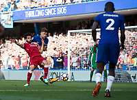 Liverpool's Mohamed Salah goes down in the box under this challenge from Chelsea's Gary Cahill <br /> <br /> Photographer Craig Mercer/CameraSport<br /> <br /> The Premier League - Chelsea v Liverpool - Sunday 6th May 2018 - Stamford Bridge - London<br /> <br /> World Copyright &copy; 2018 CameraSport. All rights reserved. 43 Linden Ave. Countesthorpe. Leicester. England. LE8 5PG - Tel: +44 (0) 116 277 4147 - admin@camerasport.com - www.camerasport.com