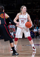 STANFORD, CA - January 22, 2011: Lindy La Rocque of the Stanford women's basketball team during their game against USC at Maples Pavilion. Stanford beat USC 95-51.