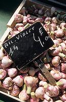 Europe/France/Languedoc-Roussillon/11/Aude/Carcassonne: Ail violet sur le marché place Carnot