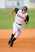 Jon Gilmore #20 of the Kannapolis Intimidators hustles towards third base versus the Lakewood BlueClaws at Fieldcrest Cannon Stadium May 16, 2009 in Kannapolis, North Carolina. (Photo by Brian Westerholt / Four Seam Images)