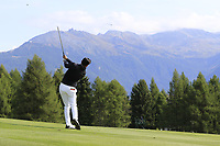 Lee Slattery (ENG) plays his 2nd shot on the 12th hole during Thursday's Round 1 of the 2017 Omega European Masters held at Golf Club Crans-Sur-Sierre, Crans Montana, Switzerland. 7th September 2017.<br /> Picture: Eoin Clarke | Golffile<br /> <br /> <br /> All photos usage must carry mandatory copyright credit (&copy; Golffile | Eoin Clarke)