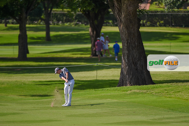 Matt Fitzpatrick (ENG) hits his approach shot on 2 during round 3 of the 2019 Charles Schwab Challenge, Colonial Country Club, Ft. Worth, Texas,  USA. 5/25/2019.<br /> Picture: Golffile   Ken Murray<br /> <br /> All photo usage must carry mandatory copyright credit (© Golffile   Ken Murray)
