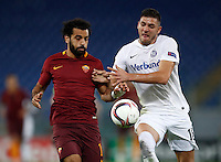 Calcio, Europa League, Gguppo E: Roma vs Austria Vienna. Roma, stadio Olimpico, 20 ottobre 2016.<br /> Roma's Mohamed Salah, left, and Austria Wien's Patrizio Stronati fight for the ball during the Europa League Group E soccer match between Roma and Austria Wien, at Rome's Olympic stadium, 20 October 2016. The game ended 3-3.<br /> UPDATE IMAGES PRESS/Isabella Bonotto