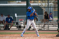 Chicago Cubs center fielder Luis Ayala (27) at bat during a Minor League Spring Training game against the Oakland Athletics at Sloan Park on March 13, 2018 in Mesa, Arizona. (Zachary Lucy/Four Seam Images)