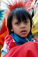 Portrait of Young Native American Indian Boy wearing Traditional Costume at Powwow, BC, British Columbia, Canada (No Model Release Available)