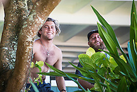 Pipeline-Backdoor, North Shore, Oahu, Hawaii. (Sunday December 11, 2016):  Conner Coffin (USA) and his <br />  Perry- The Men's Pipe Invitational, the selection trials fro the Billabong Pipeline Masters was run today at Backdoor and Pipeline. Two surfers, Finn McGill (HAW) and Gavin Beschen (HAW) won there way through to the main event. 32 surfers started in the trials with four man heats running all day through to final. McGill combo the other finalists with Beschen filling second spot. The NW swell meant a lot of the surfing was at Backdoor with the occasional Pipeline wave. <br /> Photo: joliphotos